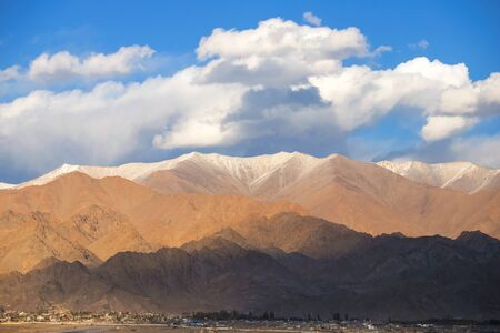 Beautiful landscape in Himalaya mountain range and cloudy in Ladakh region state of Jammu and Kashmir, Northern part of India