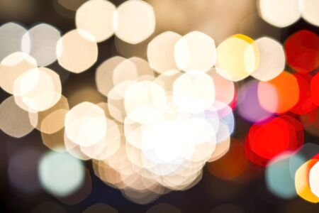 Abstract Background, Defocused Multicolored, pink, red, white, yellow, blue, spotted with bokeh defocused lights of city background