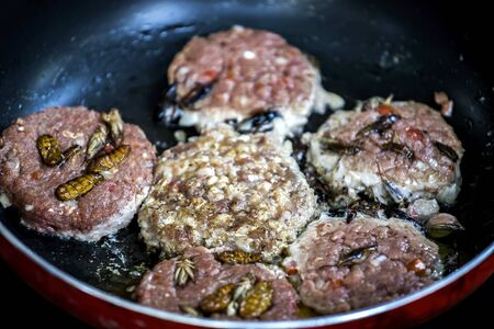 Close up, beef or pork meat and Insect for hamburger prepared