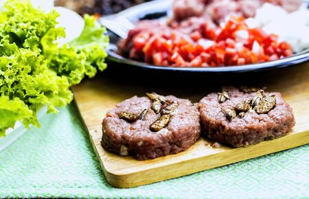 Beef or pork meat and Insect for hamburger prepared on old wooden table Zdjęcie Seryjne