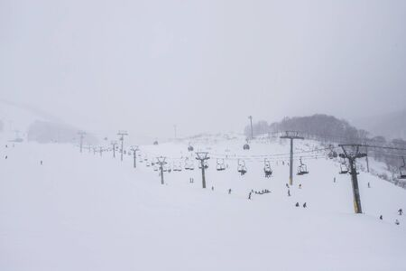 Ski slopes in Winter and Snow in Sapporo, Hokkaido, Japan