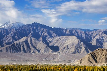 Leh ladakh, Beautiful landscape, Autumn Colourful with Mountains Background, Leh, Ladakh, India