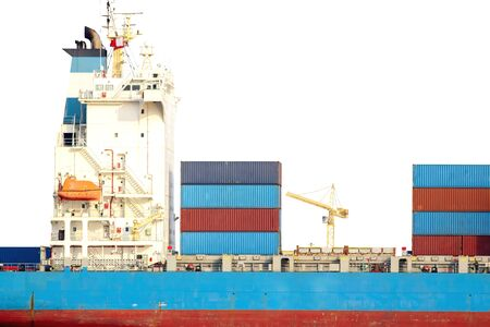 Container cargo ship in import export business commercial trade logistic and transportation of international