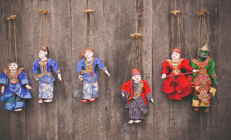 marioneta de madera: títeres, marionetas sobre Myanmar, antigua Birmania madera, Myanmar marioneta de madera.