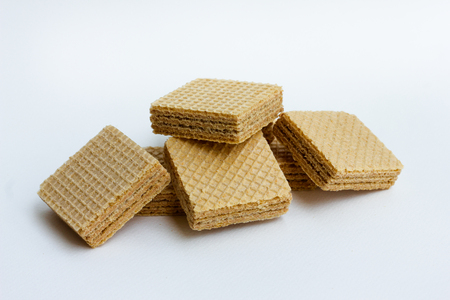wafers, Wafers with chocolate isolated on white background.