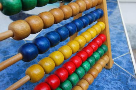 Rainbow abacus , Abacus in the kindergarten,Montessori material Stock Photo