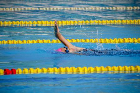 Children girl in swimming pool , Asian Girl , Thailand Imagens - 98618083
