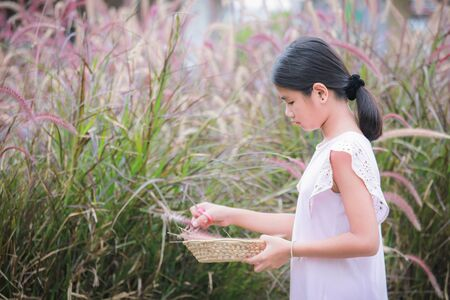 Lovely girl with leaves in the work of art , Children and art from the leaves , Crafts with kids , selective focus , Thailand. ,Children with leaf art ,A lovely Asian girl who creates art from leaves , Outdoor portrait ,  Art from leaves Imagens