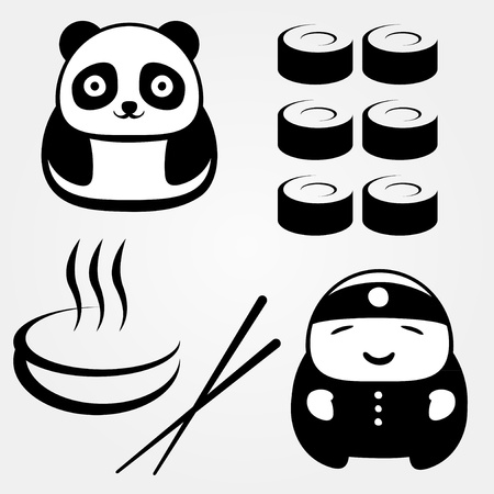 sushi plate: Few objects on Asian food theme Illustration