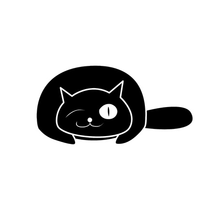 paw smart: Black cat on the white background