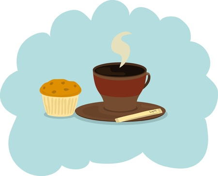 Cup of coffee and muffin Vector