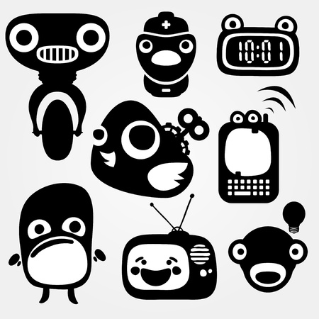 Multiple separated mechanic creatures  Vector