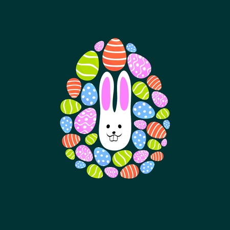 Easter egg with rabbit in center Stock Vector - 12889650