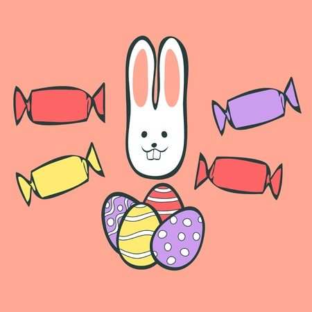 Easter rabbit with eggs and candies Vector