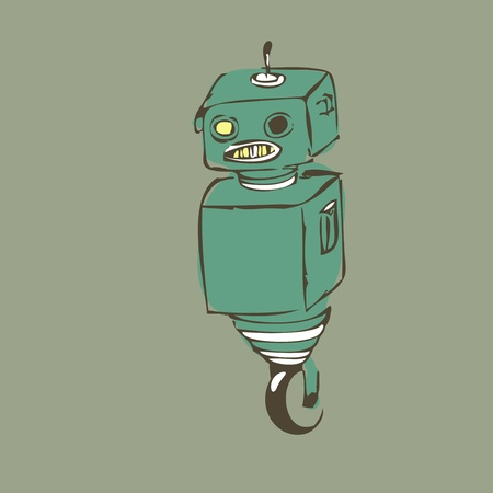 Old one-wheel robot, staying alone Vector