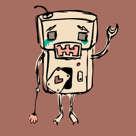 Sad crying robot, staying alone with a flower Vector