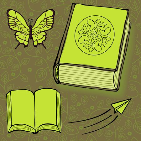 Books, butterfly and paper plane vector illustration Vector