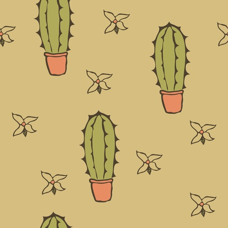 prickles: Seamless texture of cactus in pots and flowers Illustration