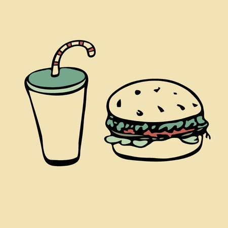 Isolated drink with straw and hamburger Stock Vector - 13059019