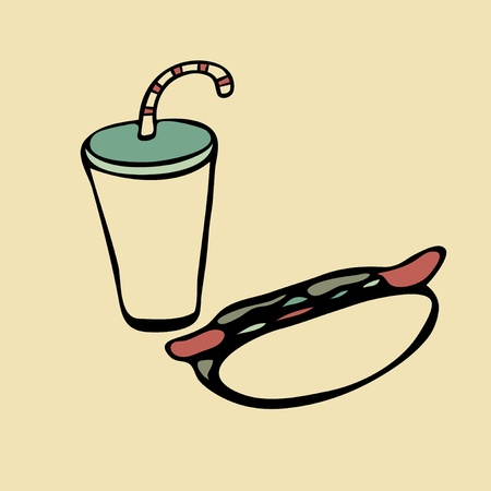 Isolated drink with straw and hot dog Vector