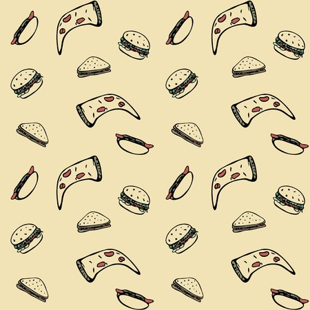 Pattern of hamburgers, sandwiches, hot-dogs and pizzas Vector