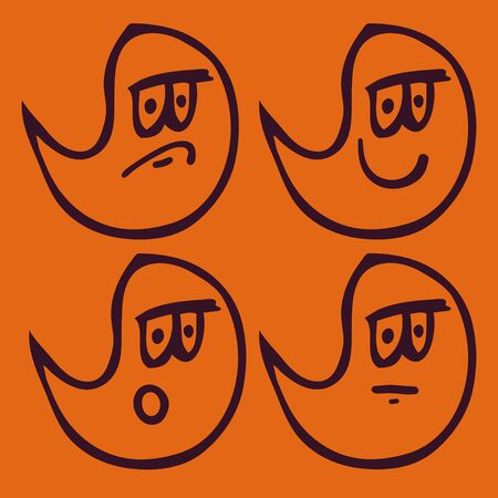 Set of ghosts with different emotions vector Vector