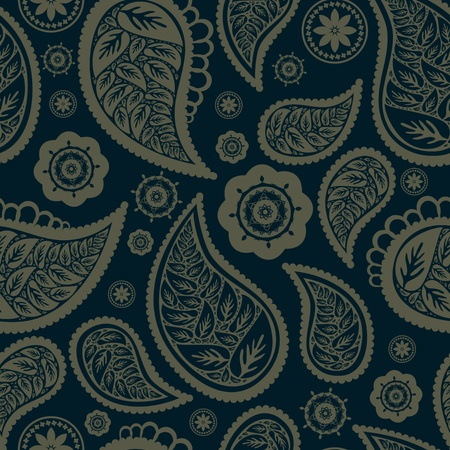 Paisley texture with leafs and flowers