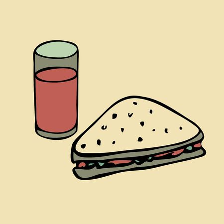 Glass of juice and sandwich Vector
