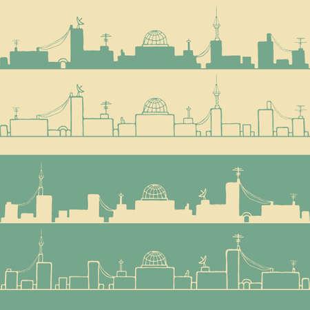 Cartoon city silhouettes illustration Vector