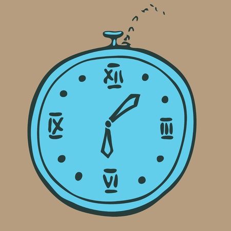 Cartoon retro watches on a chain illustration Vector