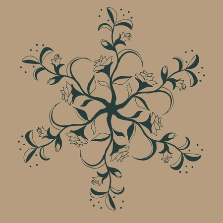 ornamental round lace pattern, flowers and leafs illustraton  Vector