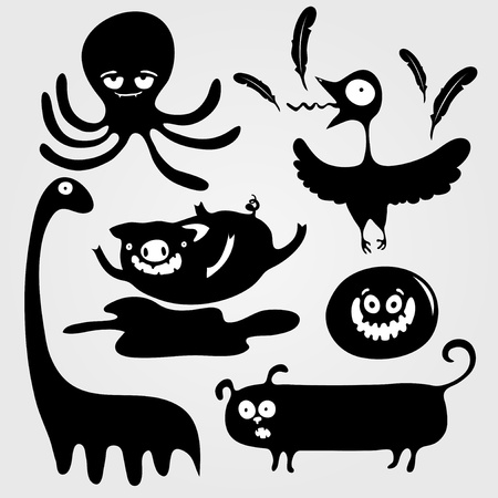 black octopus: Cartoon decorative silhouettes of animals, vector illustration Illustration