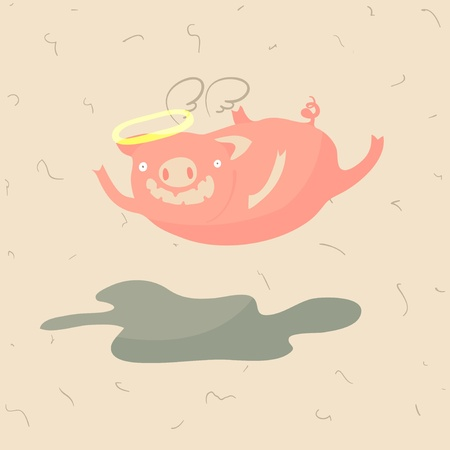 Pig with nimbus and angel wing flying under the puddle, vector illustration
