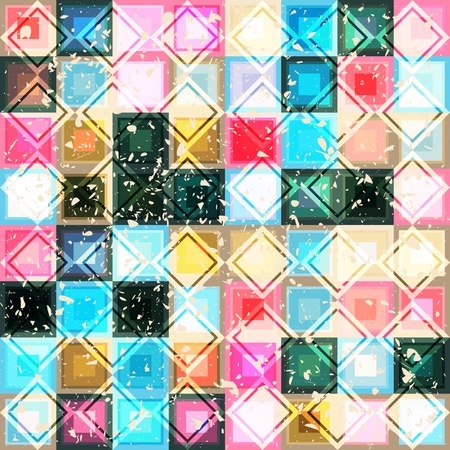 Seamless background texture with many bright mosaic squares and rhombus with grunge effect, vector pattern