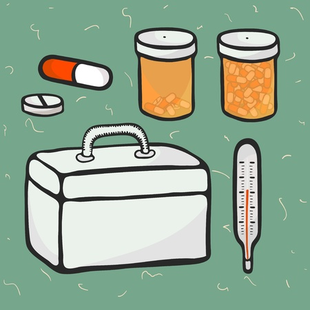 Cartoon icons on medicine theme, pills, meds, doctors case, thermometer, vector Vector