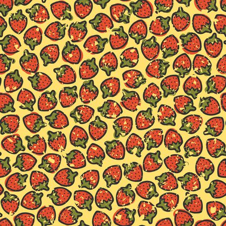 Seamless wallpaper with many cartoon strawberries on yellow background with grunge effect, vector pattern