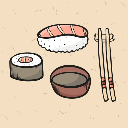 Sushi and sushi roll with fish, salmon, bowl with soy sauce and chopsticks, vector illustration Vector