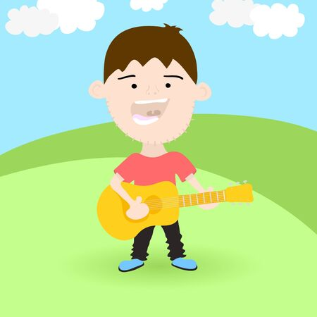 Singing boy with acoustic guitar on the meadow, vector illustration