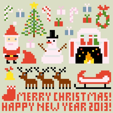 Multiple icons for Christmas theme in pixel art style, vector Ilustração