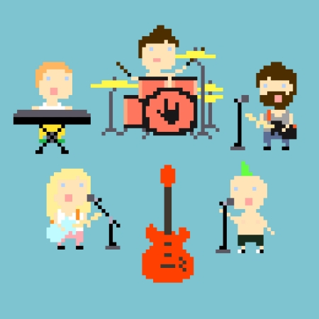 pixels: Set of icons on rock band theme in pixel art style, vector illustration