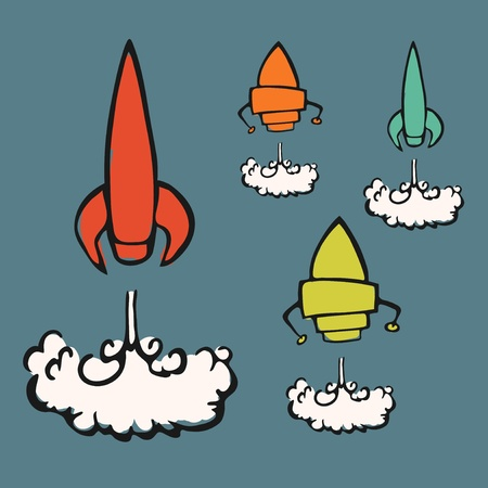 Set of four launching rockets, cartoon vector illustration Vector