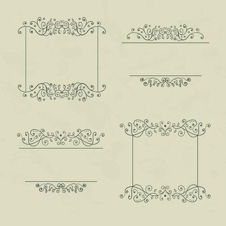 ornamental scroll: Set of four floral vintage frames with vintage backdrop, vector illustration