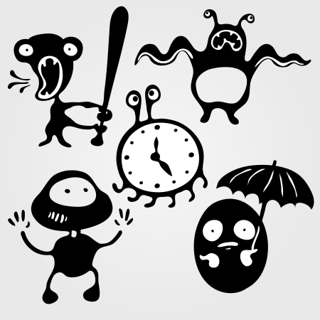 Set of five monsters silhouettes  angry, scared, running, caught and hidden, vector illustration Vector