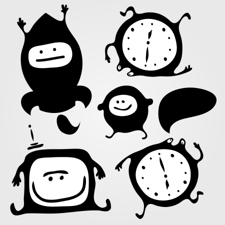 Set of monsters silhouettes with tv, rocket, clock and small bubble, vector illustration