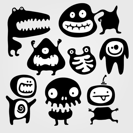 Set of few monsters silhouettes with different emotions Vector