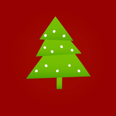 Green christmas tree on red background, vector illustration Stock Vector - 14776949