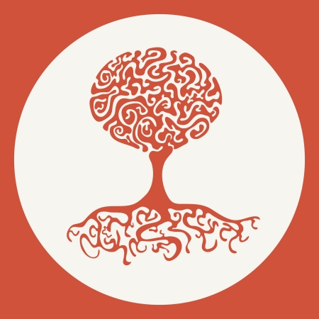 Silhouette of an abstract red tree in white circle, vector illustration