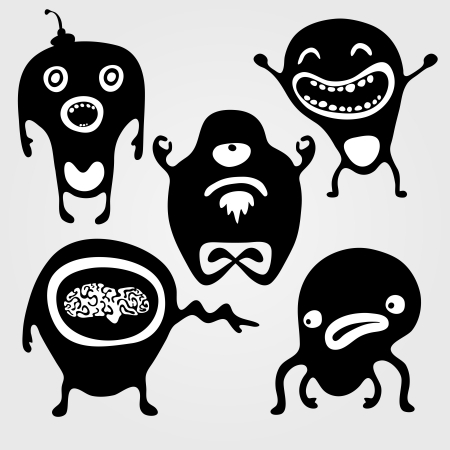 Set of monsters silhouettes with different emotions