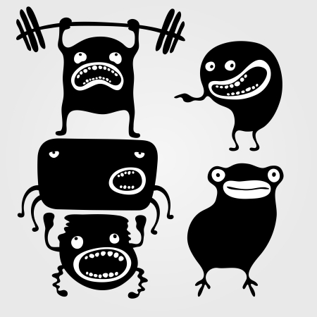 Set of monsters silhouettes with different emotions, vector