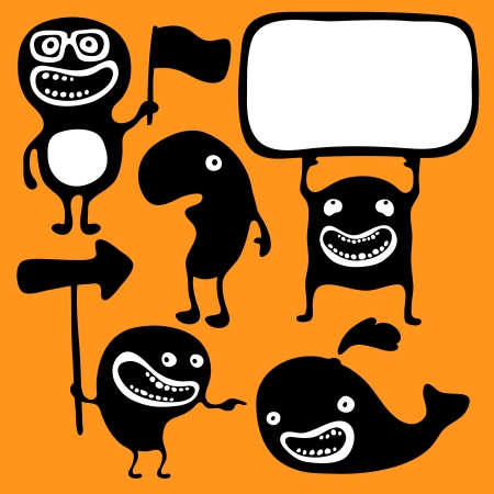 jokes: Set of monsters silhouettes with different emotions